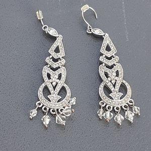 Monet silvertone and crystal chandelier earrings